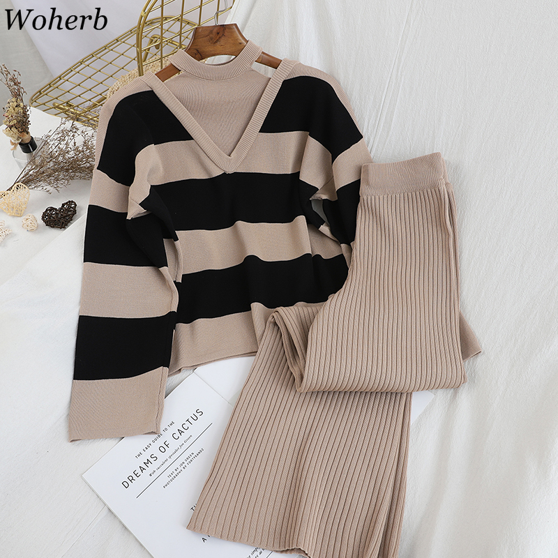 Woherb Hollow Out Striped Sweater Women Fake Two Pieces High Waist Solid Color Wide Leg Pants Korean Fashion 2 Piece Set 91403