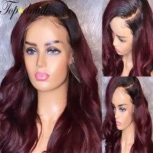 Perruque Lace Front Wig naturelle Remy – Topodmido, cheveux humains, Body Wave, couleur ombré 1B 99j, 13x6, naissance des cheveux pre-plucked