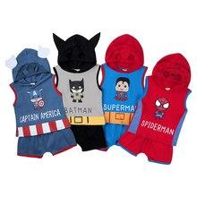 Summer Superhero Baby Boy Clothing Set Hooded Sleeveless Top Shorts 2Pcs Infant Kids Casual Outfit