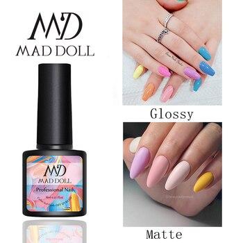 MAD DOLL 8 mate ml capa superior gel de larga duración Soak-off LED Base capa UV Gel Color manicura polaco para gel para decoración de uñas barniz