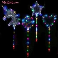 20inch Unicorn/Stars/Heart/Round Shape Luminous Bobo Led Balloon With Sticks Birthday Party Supplies Clear LED Light BoBo Ballon