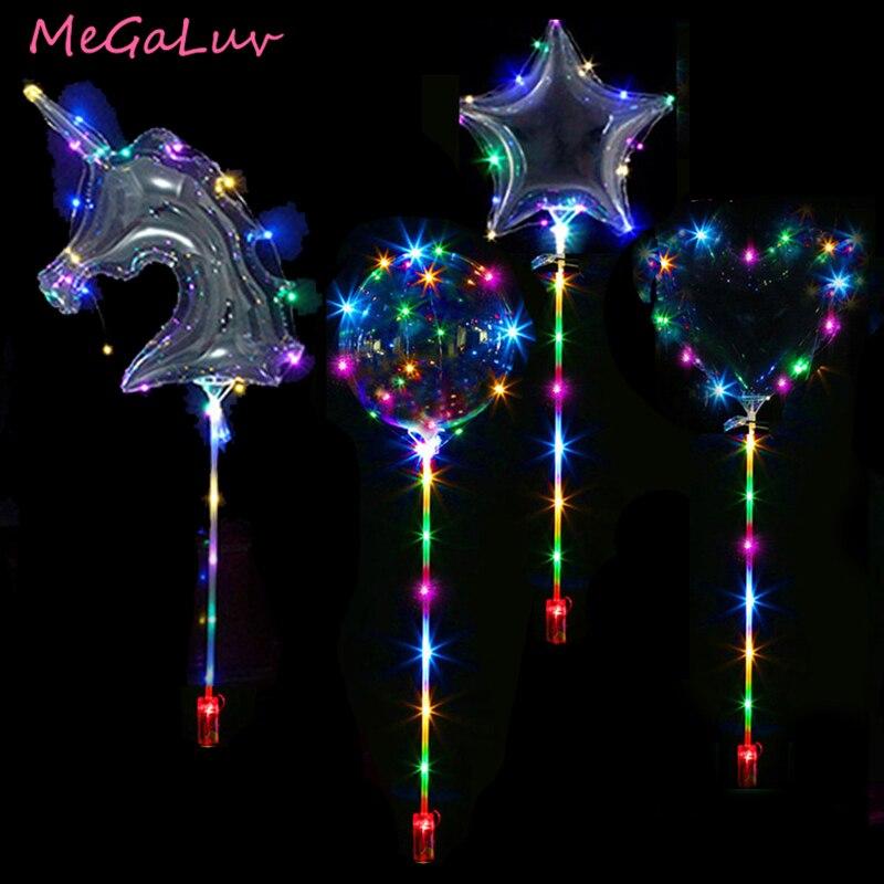 Globo Led Bobo luminoso con forma de unicornio/estrellas/corazón/redondo de 20 pulgadas con palos suministros de fiesta de cumpleaños globo claro de luz LED BoBo