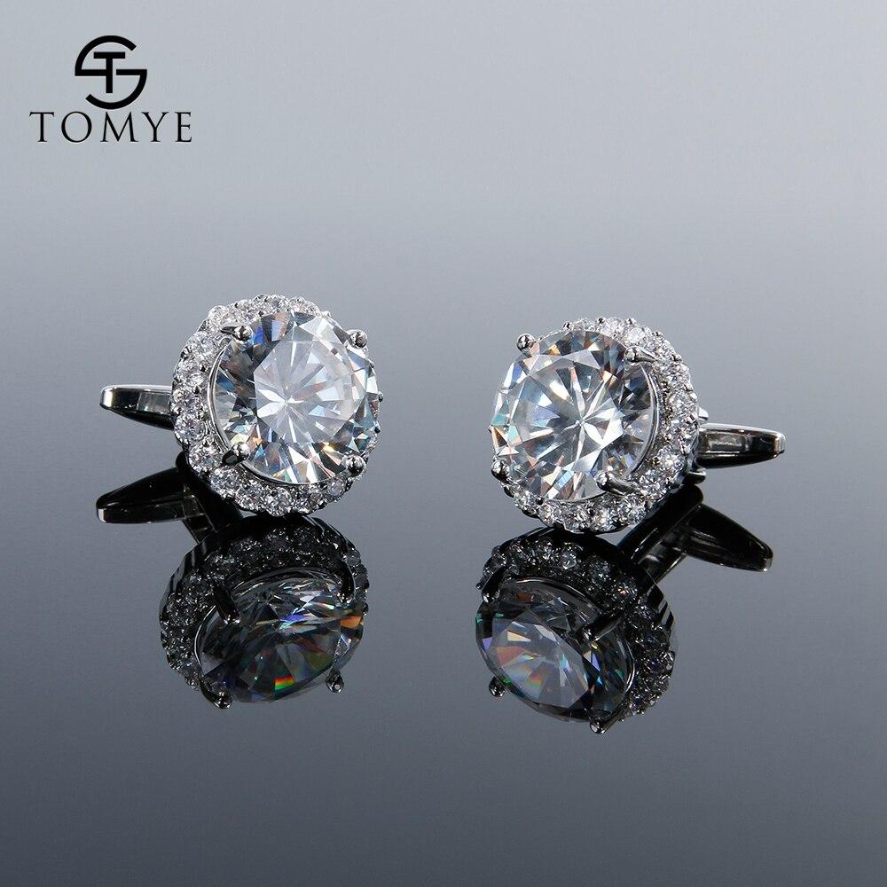 TOMYE Luxury Zircon Cufflinks Silver Round Groom Wedding Cufflinks Men Gift XK19S134