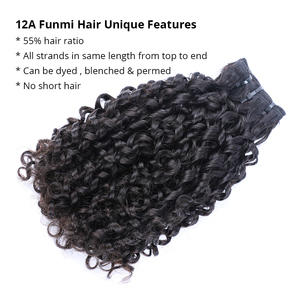Flexi /Pixie/Pissy Curl Double Drawn Funmi Hair Bundles 100% Brazilian Small Kinky Curly Human Remy Hair Extension High Density(China)