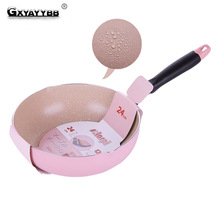 GXYAYYBB 1pcs Japanese 24CM Aluminum Alloy Frying Pan Not Sticky Cooking Pot Composite Bottom Wok Gas Induction Cooker Universal
