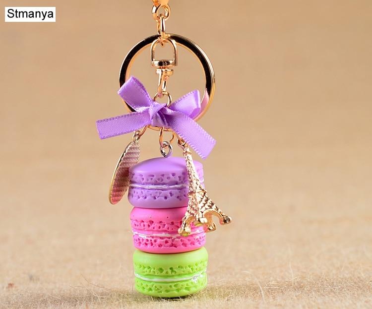 New Cake Key Chain Fashion Car Key Ring Women Bag Charm Accessories France Cake Macarons With Eiffel Tower Keychain Gift Jewelry