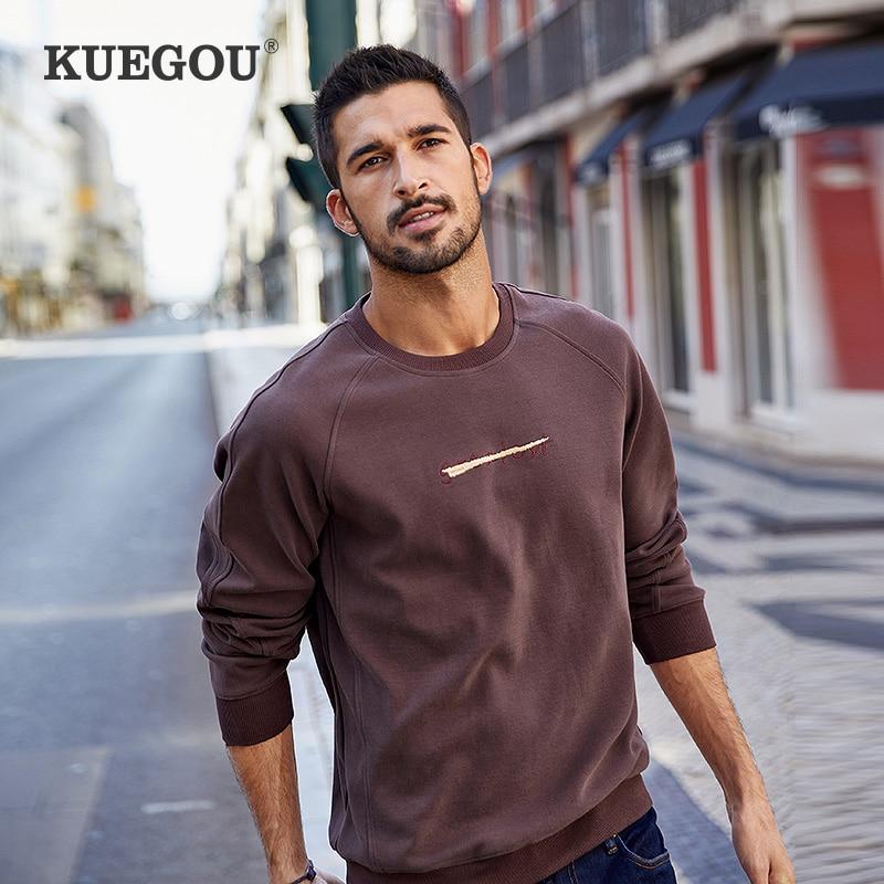 KUEGOU Cotton spandex Letters embroidery sweatshirts men autumn fashion Men's hoodie sweatshirts top plus size UEW-8939