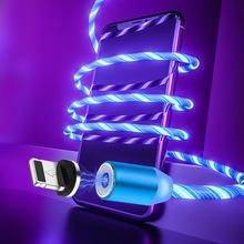 Magnetyczny kabel USB szybkie ładowanie typ C kabel USB dla iPhone 6 7 8 Xiaomi telefon komórkowy magnes ładowarka micro USB przewód danych przewód tanie tanio YKSKR Typu C USB A 2 4A Magnetyczne 2 w 1 3 w 1 Podświetlany Ze wskaźnikiem LED Złącze ze stopu Fast Charging Cable
