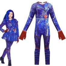 Halloween Descendants 3 Mal Cosplay Women Girls Carnival Costume Jumpsuit  christmas outfits kids