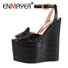 ENMAYER Woman High Heels Sandals Shoes women Summer Peep Toe Buckle strap Fashion Lady Wedges Platform Shoes Buckle strap shoes