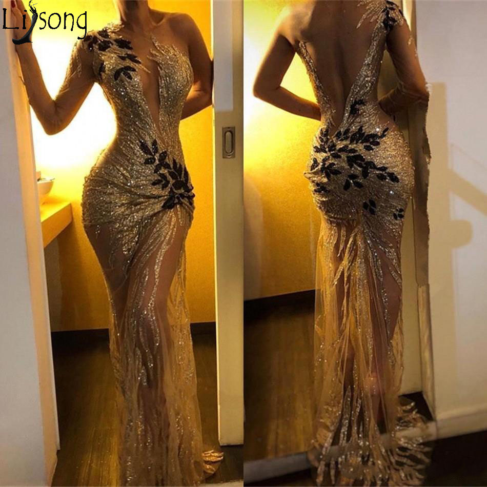 Sexy Sequin Mermaid Prom Dresses 2019 Gold Sheer One Shoulder Sleeve Long Sleeve Lace Applique Sweep Train Formal Evening Dress Party Gowns Robe De Soiree Abendkleider