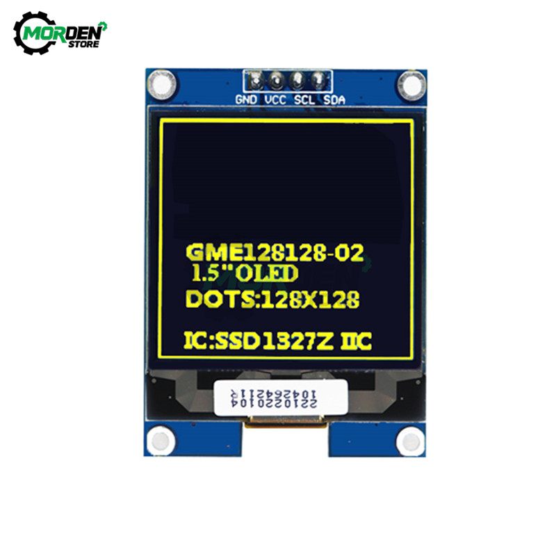 1.5 inch LCD Display IIC Serial White /Yellow <font><b>OLED</b></font> Display Module 128X128 I2C 1.5inch <font><b>SSD1327</b></font> LCD Screen Board For Arduino image