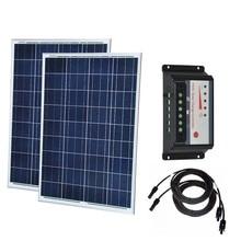 Solar Kit 200w Solar Panel 100W 12V Polycrystalline 2 Pcs Controller Regulator 12V/24v 20A Boat Caravan Car Camping Motorhomes цена