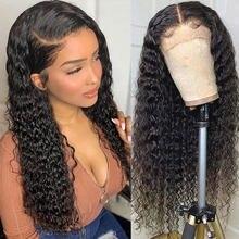 30 дюймов, глубокая волна, кружевной передний парик, человеческие волосы, кудрявые, бразильские, полностью влажные и волнистые, водная волна, ...