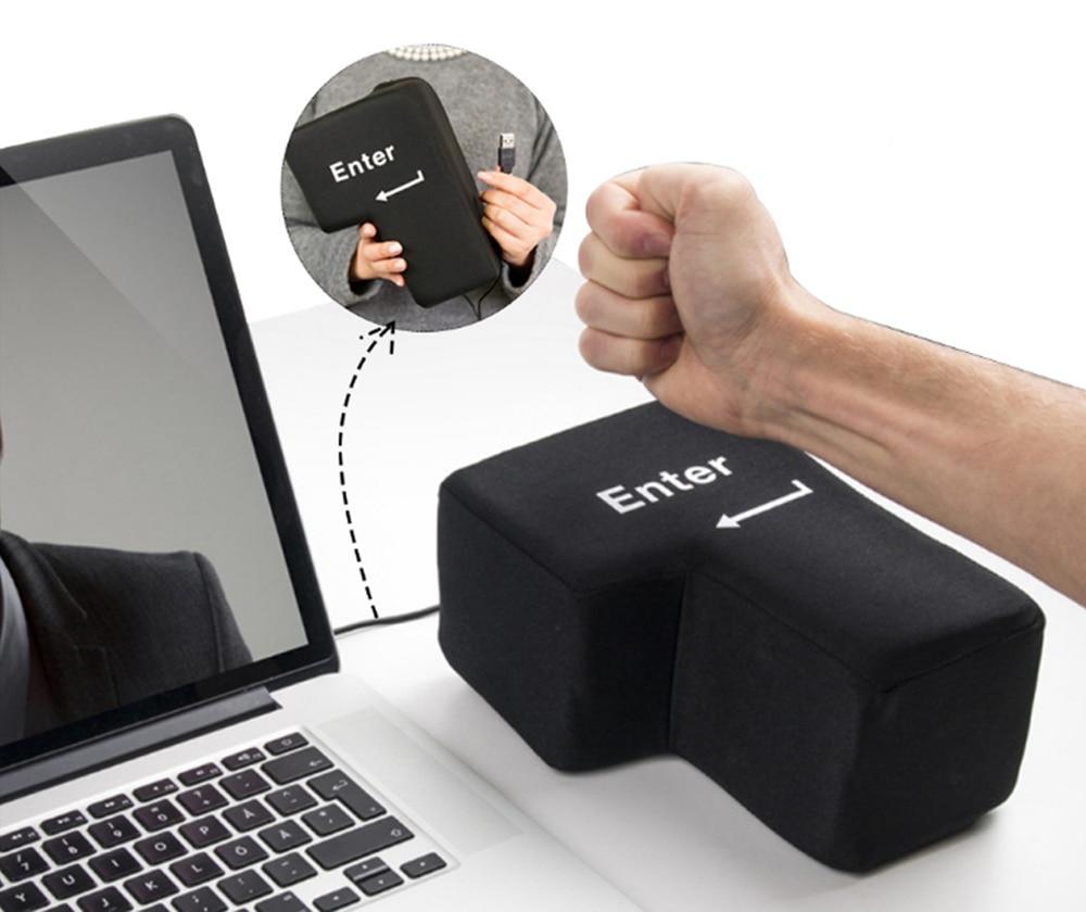 USB Big Enter Key Relieve Stress Plush Toy, Throw Table Pillow Toys Anti-Stress Relief Super Size Stuffer Accent Desktop F