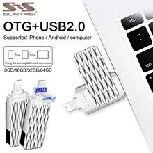 Suntrsi 2.0 USB Flash Drive 3 in 1 OTG Pendrive Hoge Snelheid 64GB 32GB voor slimme iPhone 7 /8/x/xr/iPad/Android gratis verzending