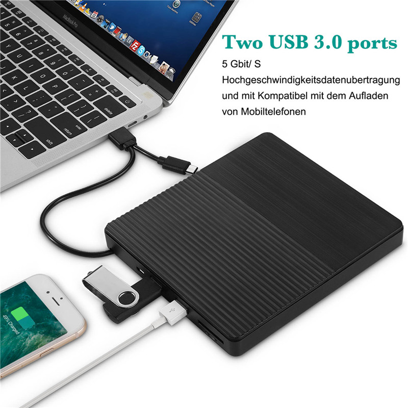 USB 3.0 External Optical Drive Portable External Type-C CD Burner High Speed CD/DVD Player TF/SD Card Reader For Windows Linux
