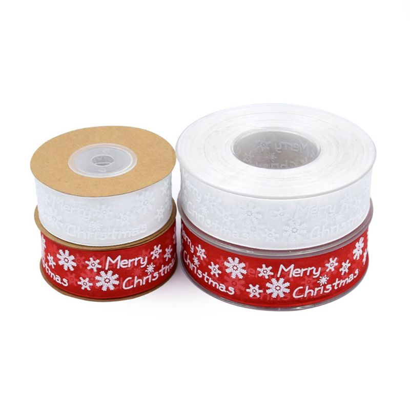 10m/20m Snowflake Pattern Merry Christmas Decoration Gauze Ribbon For DIY Crafts 40JF