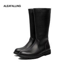Aleafalling – bottes classiques en cuir à semelle compensée pour homme, bottes à talon bas, fermeture éclair, haute qualité, collection automne et hiver, MBT02