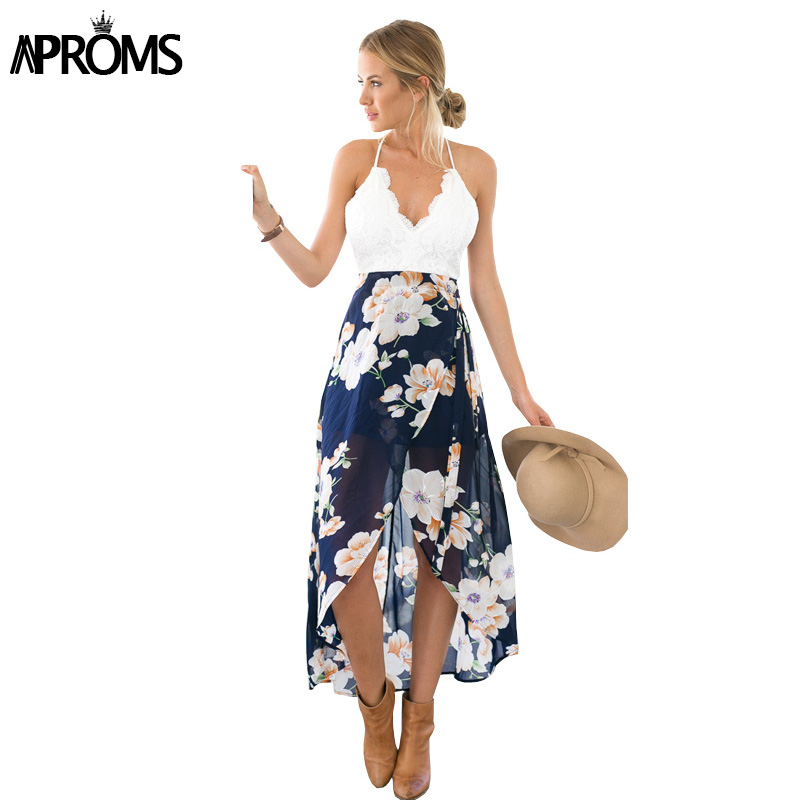 Aproms Women Summer Dresses Sexy V-Neck White Lace Patchwork Floral Party Dress  Sundresses Long Chiffon Beach Dress 2020