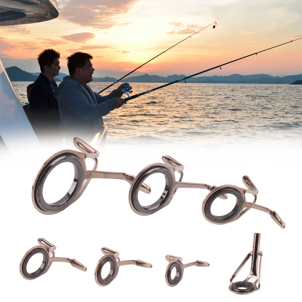 Rod Guides-Ring Fishing-Tools Stainless-Pole-Repair-Kit Vintage Wholesale Oval for 7-Size/Set title=