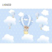 Laeacco мультяшный медведь воздушный шар точки голубое небо