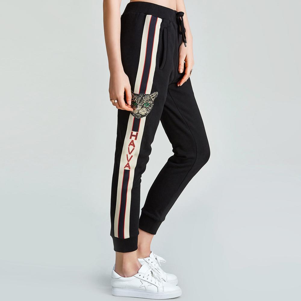 HAVVA/весенне осенние женские хлопковые черные облегающие шаровары, спортивные повседневные брюки до щиколотки K38810