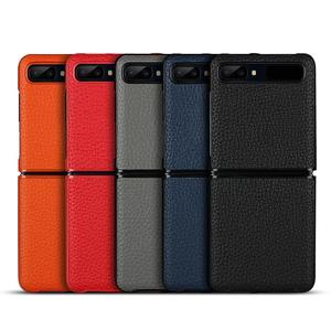 Image 5 - FLOVEME Genuine Real Leather Case For Samsung Galaxy Z Flip Case Foldable Litchi Protective Cover For Samsung Galaxy Z Flip Skin