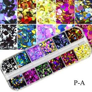Image 4 - Juego de 12 rejillas de lentejuelas para uñas, copos redondos de colores, colores mezclados, brillo de Paillette 3D, herramienta de decoración para manicura TRP