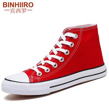 BINHIIRO wysokiej jakości płótno buty oddychające miłośnicy mody buty wulkanizowane klasyczny czerwony wysoki top brezentowych butów mężczyzn rozmiar 35-44 tanie i dobre opinie Totem Stałe Dla dorosłych Cotton Fabric Wiosna jesień 6637-4 Lace-up Niska (1 cm-3 cm) Pasuje prawda na wymiar weź swój normalny rozmiar