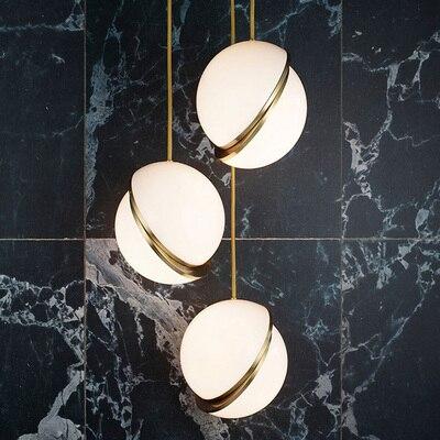 Nordic Modern D20cm D30cm D40 Glass Ball Bubble Led Pendant Light Gold Ring Kitchen Living Room Restaurant Bedroom Hanging Lamp