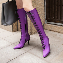 Plus Size 34-46 New Fashion Hot Women Boots Winter Ladies Thin High Heel Boots Shoes Over The Knee Thigh High Lace Up Long Boots цены онлайн