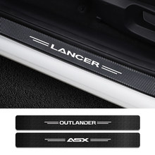 4 unids/set puerta umbral cubierta de pegatinas para Mitsubishi Lancer 10 3 9 EX Outlander 3 ASX L200 Ralliart competencia Accesorios