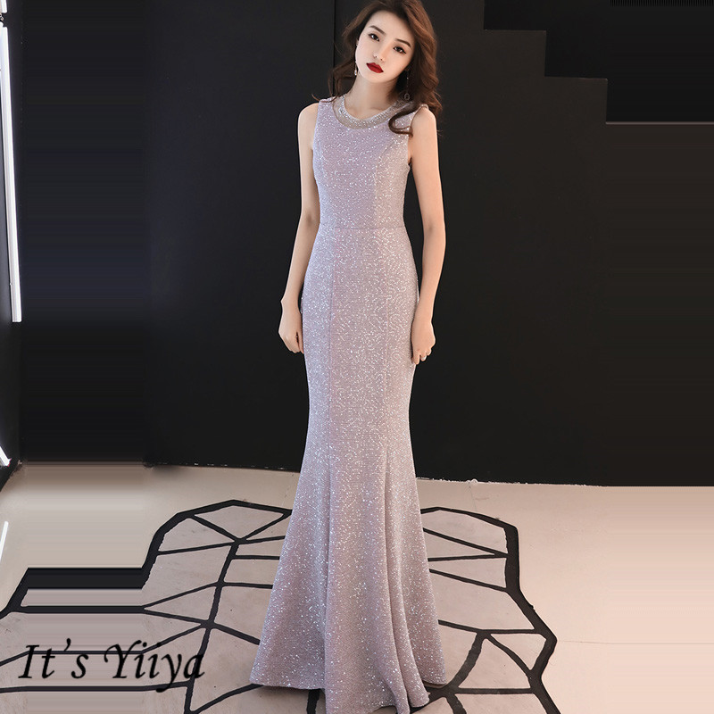 It's YiiYa Evening Dress 2019 Elegant Mermaid Plus Size Sleeveless Robe De Soiree O-Neck Floor-Length Women Party Dresses E904