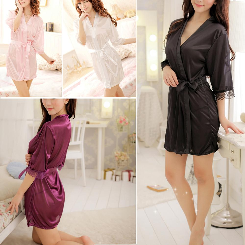 Hot Sexy Silk Satin Lace Dressing Gown Bath Robe Hot Fashion Nightwear Sleepwear Dress Lingerie Robe