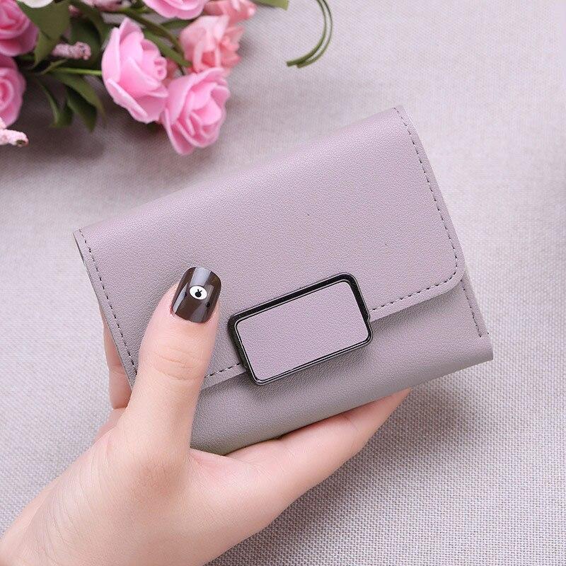 Новинка, маленький кошелек для денег, Женский Повседневный однотонный кошелек, Модный женский короткий Мини Универсальный корейский студенческий маленький кошелек - Цвет: Purple