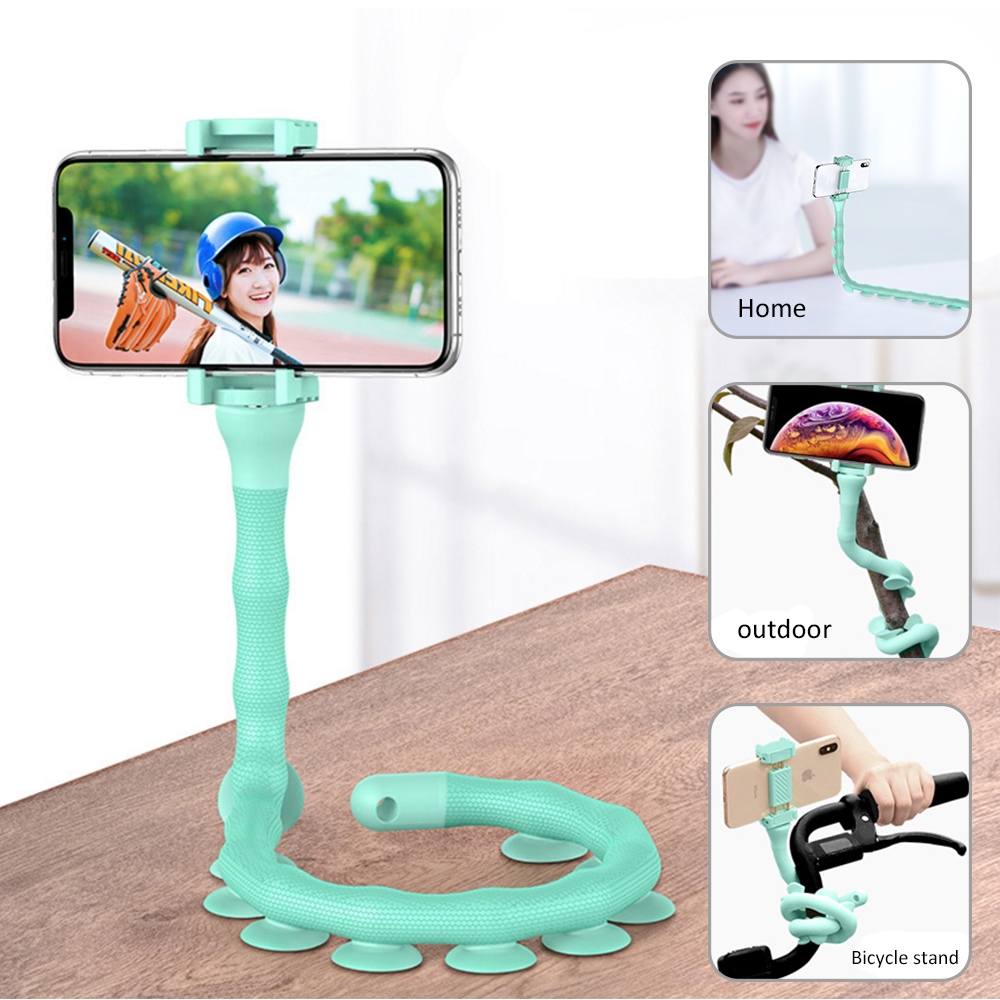 ICozzier Cute Caterpillar Lazy Bracket Mobile Phone Holder Worm Flexible Phone Suction Cup Stand For Home Wall Desktop Bicycle