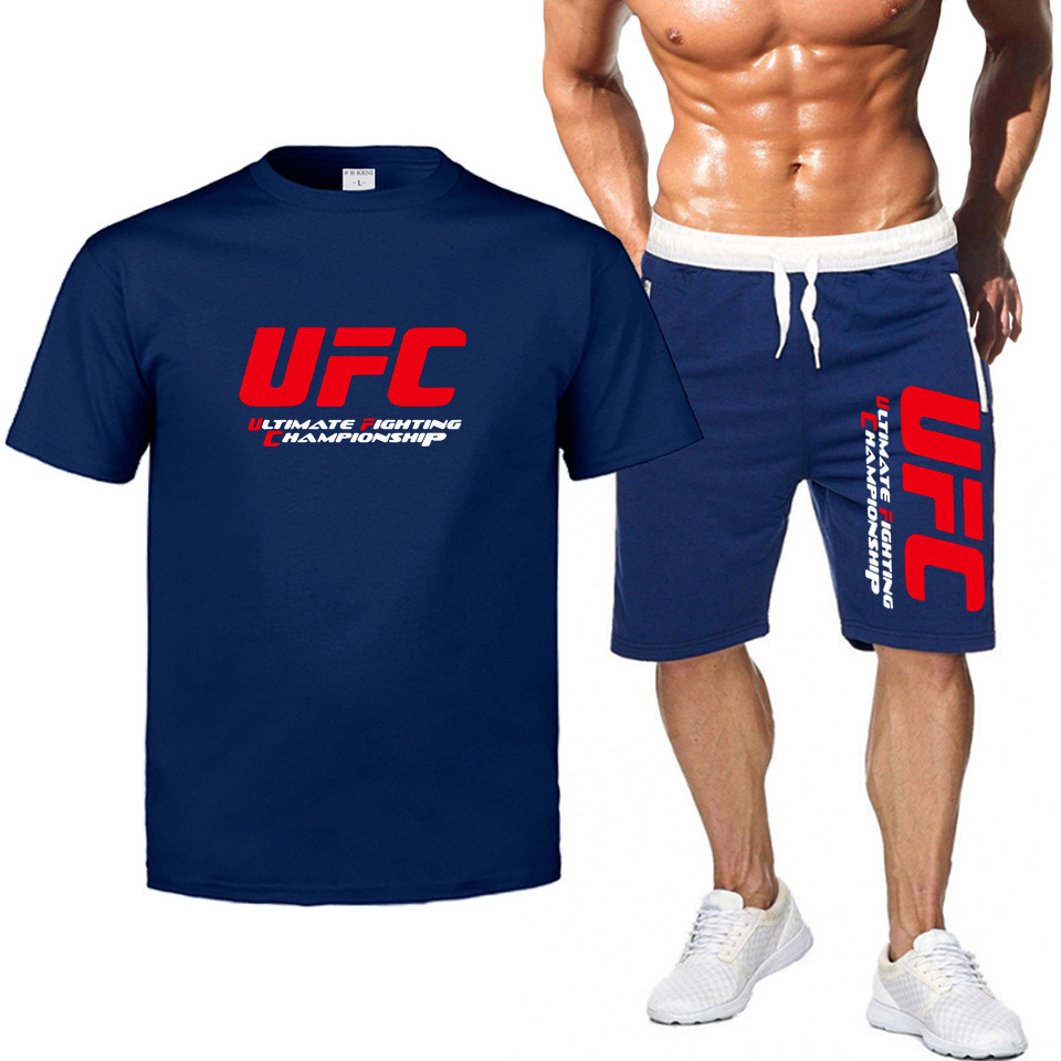 Mma Ufc Europe And America Fighting Ultimate Fighting Short Sleeve Casual MEN'S T-shirt + Sports Shorts Set