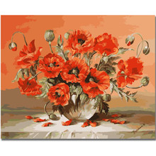 RIHE Red Flowers-DIY Oil Painting Drawing with Brushes Paint, Paint by Number Kit for Adults, Kids 40X50cm