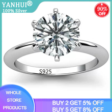 With Certificate Fine Jewelry Silver 925 Rings Top Quality Solitaire 2.0ct SONA Diamond Rings Women Bridal Wedding Jewelry XR121