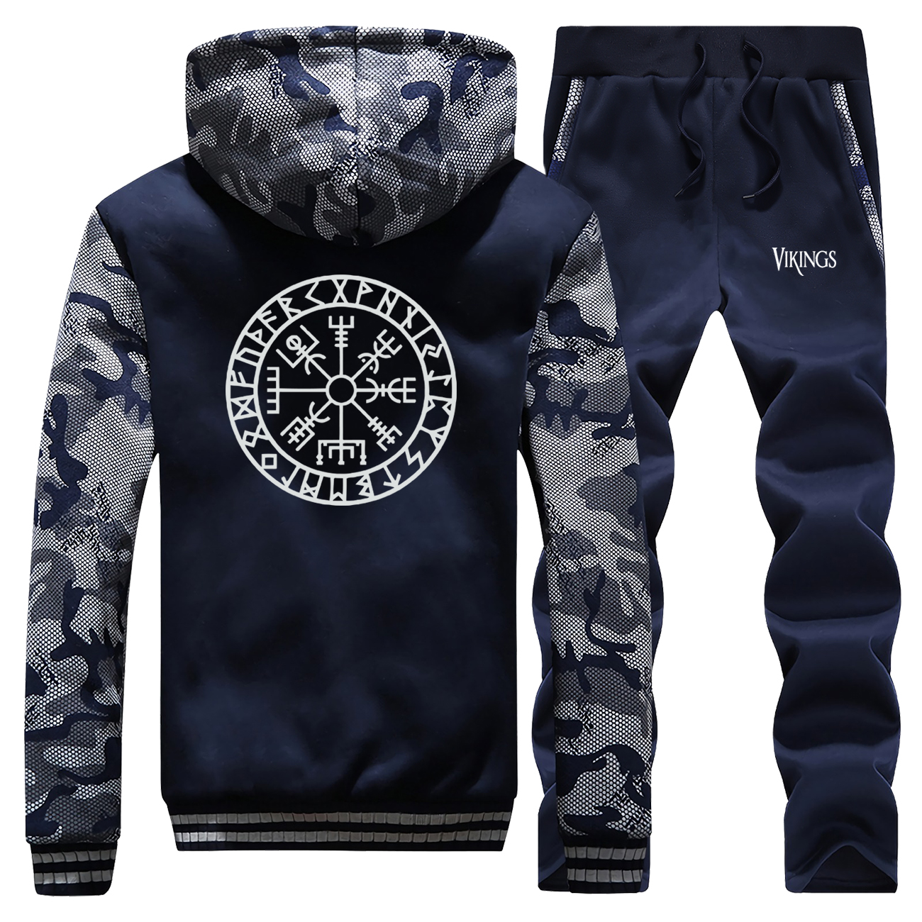 Vikings Print Thick Male Set TV Show The Viking Printed Camo Jacket Sets Fashion Winter Streetwear Fleece Warm Men's Sports Suit