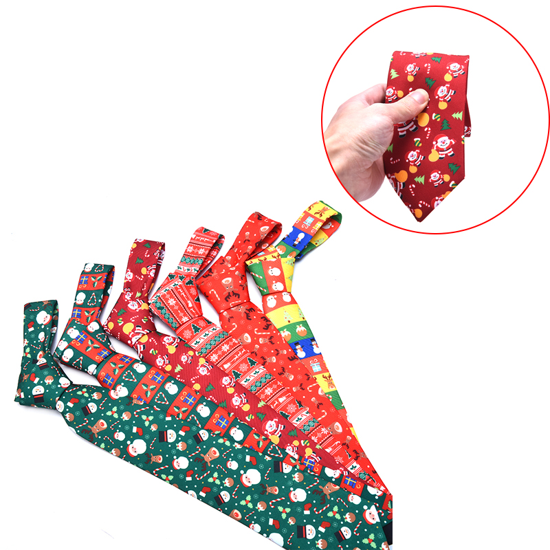 Men's Fashion Christmas Tie Casual Christmas Snowflake Animal Print Tie Necktie For Man Party Gift Cartoon Neck Ties