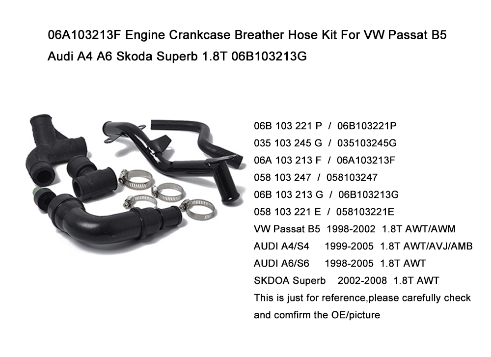 06A103247 058103247 Engine Crankcase Breather Vent Hose Pipe Assembly for VW Passat B5 AUDI A4 A6 1.8T 06B103221P
