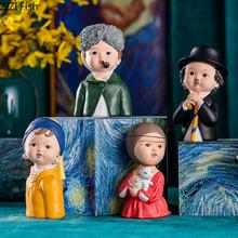 Postać z kreskówki żywica portrety popiersie dekoracja biurka miniaturowe figurki malowane rzemiosło ozdoby Home Decor Modern tanie tanio Ludzi Nowoczesne Żywica