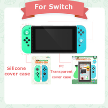 Animal Forest Soft Silicone Protective Skin Case + Crystal Joypad Shell for Nintend Switch Left Green Right Blue Rubber Case