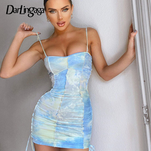 Darlingaga Fashion Strap Tie Dye Ruched Summer Dress Women Drawstring Patchwork Bodycon Club Party Dress Sundress Sexy Dresses