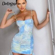 Darlingaga Fashion Strap Tie Dye Ruched Summer Dress Women Drawstring Patchwork Bodycon Club Party Dress Sundress Sexy Dresses