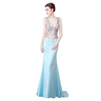 2020 Plus Size Evening Dresses Mermaid Transparent Car models Anchor Nightclub dress Simple   Soiree Sexy Dress BX-0061