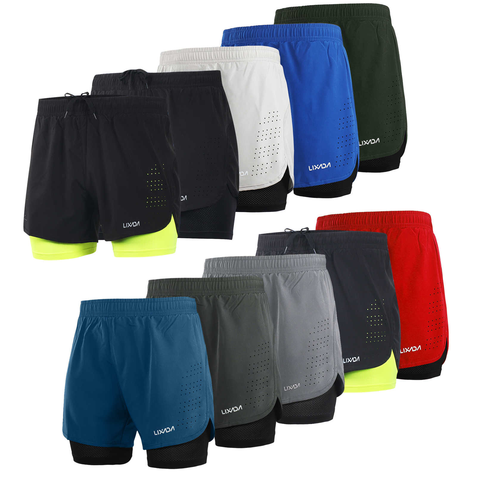 Lixada Men/'s 2-in-1 Running Shorts Quick Drying Breathable Active Training Pants