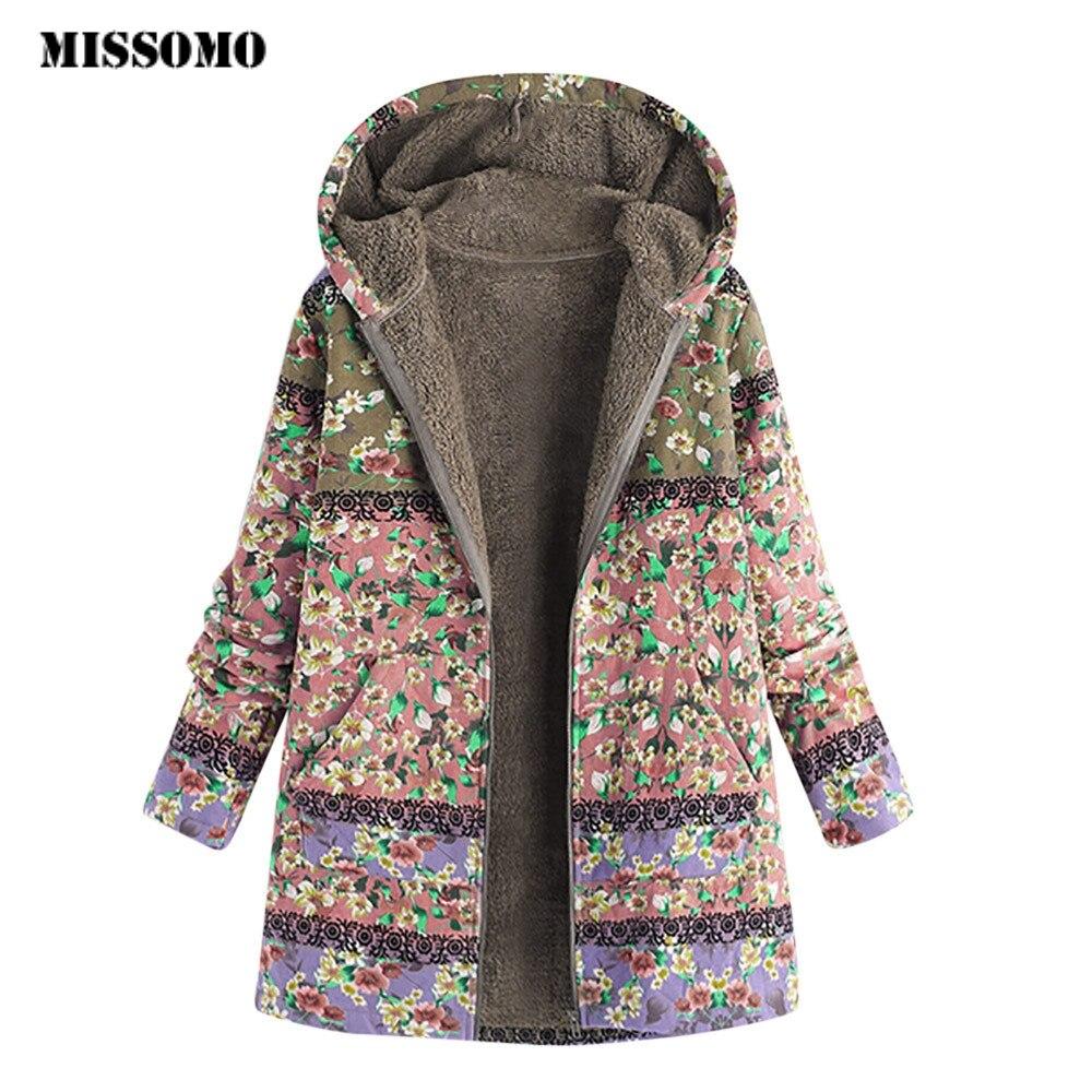 MISSOMO jacket Women Hooded Long Sleeve Vintage Ladies Fleece Thick Coats Zipper Coat female bomber jacket Innrech Market.com
